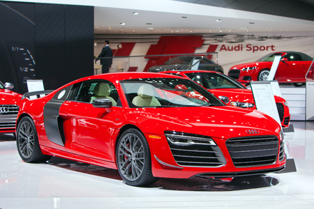 DETROIT - JANUARY 15: The Audi R8 sports car January 13th, 2015 at the 2015 North American International Auto Show in Detroit, Michigan.