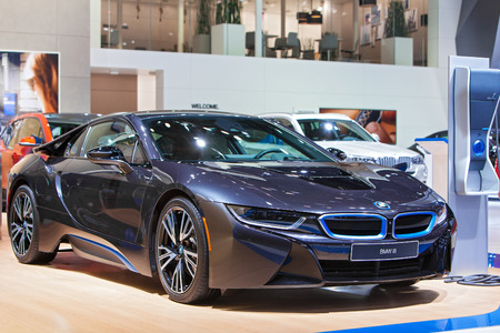 DETROIT - JANUARY 15: The BMW i8 electric vehicle on display January 13th, 2015 at the 2015 North American International Auto Show in Detroit, Michigan.