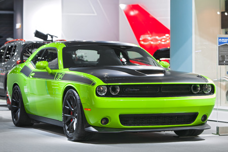 challenger: DETROIT - JANUARY 15: A Dodge Challenger on display January 13th, 2015 at the 2015 North American International Auto Show in Detroit, Michigan. Editorial