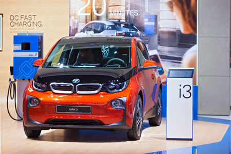 i3: DETROIT - JANUARY 15: A BMW i3 Electric vehicle on display January 13th, 2015 at the 2015 North American International Auto Show in Detroit, Michigan.