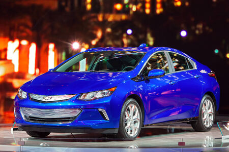 chevy: DETROIT - JANUARY 15: The new 2016 Chevy Volt on display January 13th, 2015 at the 2015 North American International Auto Show in Detroit, Michigan.