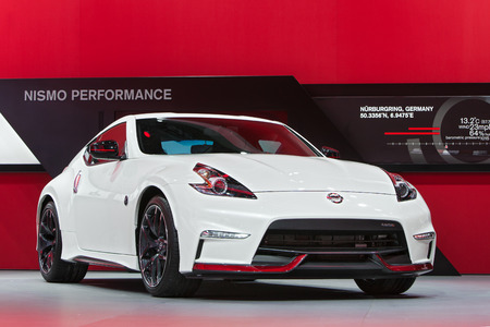 DETROIT - JANUARY 15: A Nissan 370Z Nismo on display January 13th, 2015 at the 2015 North American International Auto Show in Detroit, Michigan.