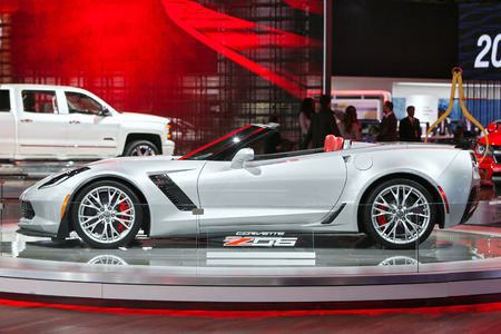 corvette: DETROIT - JANUARY 15: A 2015 Chevy Corvette on display January 13th, 2015 at the 2015 North American International Auto Show in Detroit, Michigan.