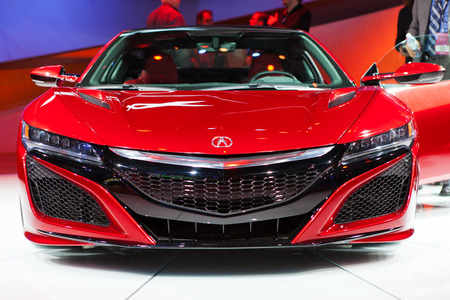 acura: DETROIT - JANUARY 12: Front view of the Acura NSX on display January 12th, 2015 at the 2015 North American International Auto Show in Detroit, Michigan. Editorial
