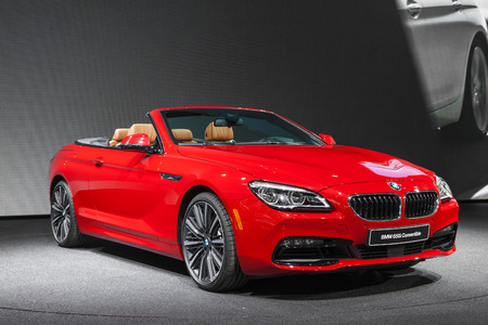 bmw: DETROIT - JANUARY 12: The BMW 650i Convertible on display January 12th, 2015 at the 2015 North American International Auto Show in Detroit, Michigan. Editorial