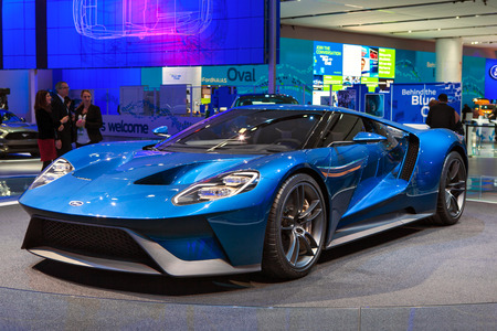 DETROIT - JANUARY 12: The world premiere of the new Ford GT supercar January 12th, 2015 at the 2015 North American International Auto Show in Detroit, Michigan. Stok Fotoğraf - 35779640