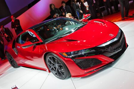 acura: DETROIT - JANUARY 12: The Acura NSX on display January 12th, 2015 at the 2015 North American International Auto Show in Detroit, Michigan.