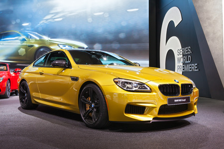bmw: DETROIT - JANUARY 12: The BMW M6 Coupe on display January 12th, 2015 at the 2015 North American International Auto Show in Detroit, Michigan. Editorial
