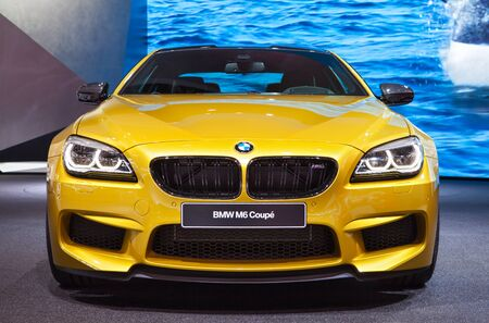 DETROIT - JANUARY 12: The new BMW M6 Coupe front view January 12th, 2015 at the 2015 North American International Auto Show in Detroit, Michigan.