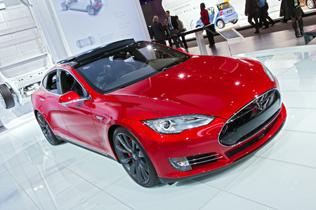 DETROIT - JANUARY 12: A Tesla Model S on display January 12th, 2015 at the 2015 North American International Auto Show in Detroit, Michigan. Editorial