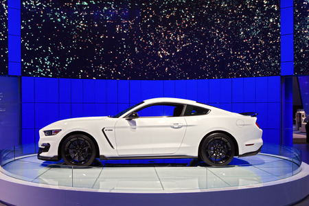 mustang gt: DETROIT - JANUARY 12: A Ford GT350 Mustang  on display January 12th, 2015 at the 2015 North American International Auto Show in Detroit, Michigan.