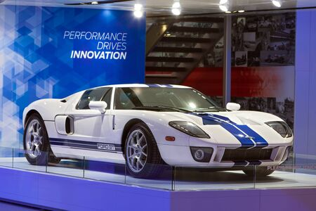 DETROIT - JANUARY 12: A Ford GT supercar on display January 12th, 2015 at the 2015 North American International Auto Show in Detroit, Michigan. Editöryel