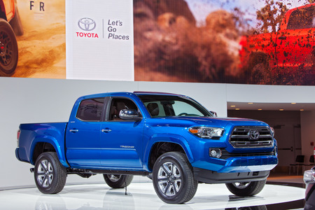 tacoma: DETROIT - JANUARY 13: A Toyota Tacoma Truck on display January 13th, 2015 at the 2015 North American International Auto Show in Detroit, Michigan.
