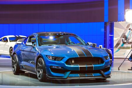 mustang gt: DETROIT - JANUARY 13: A Ford GT350 Shelby Cobra Mustang on display January 13th, 2015 at the 2015 North American International Auto Show in Detroit, Michigan.