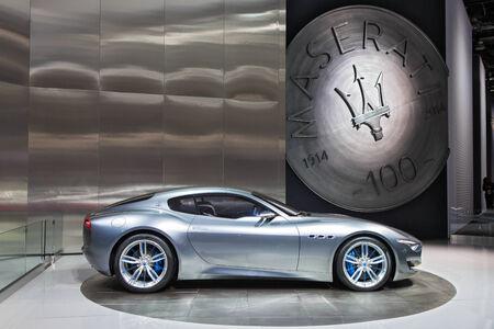 american media: DETROIT - JANUARY 13: The Maserati Alfieri on display January 13th, 2015 at the 2015 North American International Auto Show in Detroit, Michigan.