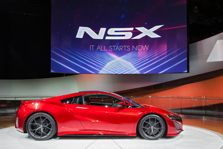 acura: DETROIT - JANUARY 13: The Acura NSX world premiere January 13th, 2015 at the 2015 North American International Auto Show in Detroit, Michigan. Editorial