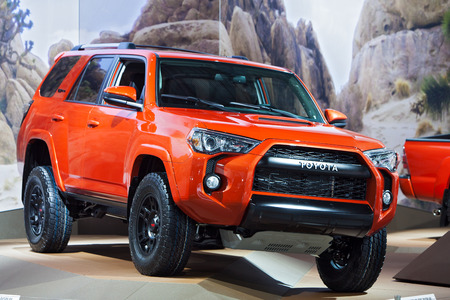 DETROIT - JANUARY 13: A Toyota Four Runner TRD PRO Truck on display January 13th, 2015 at the 2015 North American International Auto Show in Detroit, Michigan.