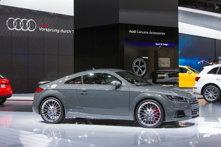 DETROIT - JANUARY 13: An Audi TT coupe on display January 13th, 2015 at the 2015 North American International Auto Show in Detroit, Michigan.