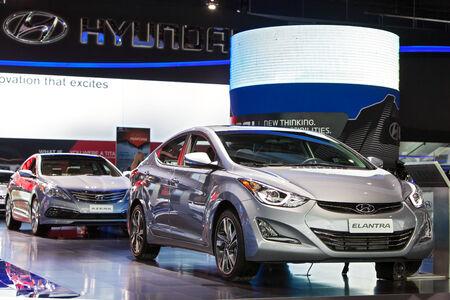 DETROIT - JANUARY 15: The Hyundai Elantra on display January 15th, 2015 at the 2015 North American International Auto Show in Detroit, Michigan. Editöryel