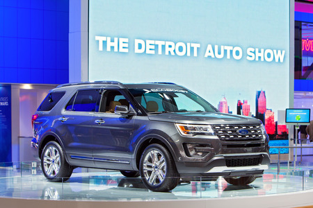 DETROIT - JANUARY 15: A Ford Explorer with Eco-Boost on display January 15th, 2015 at the 2015 North American International Auto Show in Detroit, Michigan.