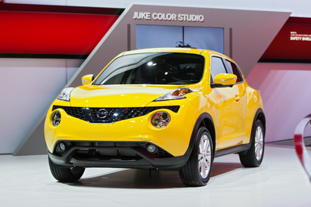 DETROIT - JANUARY 15: The Nissan Juke on display January 15th, 2015 at the 2015 North American International Auto Show in Detroit, Michigan. Editöryel