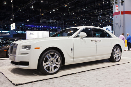 Chicago - February 13: A Rolls-Royce Ghost Series II on display February 13th, 2015 at the 2015 Chicago Auto Show in Chicago, Illinois.