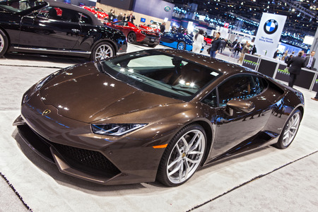 Chicago - February 13: A Lamborghini Huracan on display February 13th, 2015 at the 2015 Chicago Auto Show in Chicago, Illinois. Editöryel