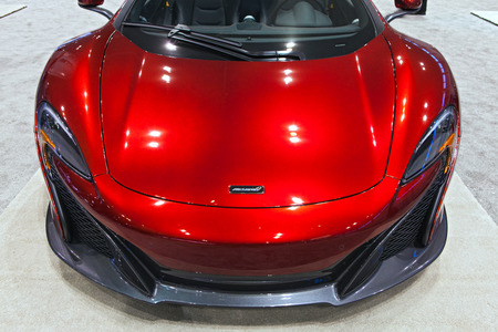 Chicago - February 13: A McClaren P90 on display February 13th, 2015 at the 2015 Chicago Auto Show in Chicago, Illinois. Editöryel
