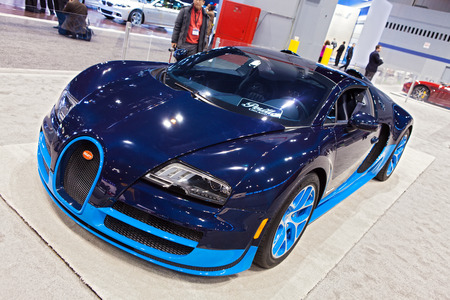 Chicago - February 13: A Bugati Veyron on display February 13th, 2015 at the 2015 Chicago Auto Show in Chicago, Illinois.