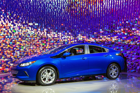 Chicago - February 13: A 2016 Chevy Volt on display February 13th, 2015 at the 2015 Chicago Auto Show in Chicago, Illinois. Editorial