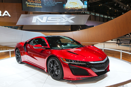 acura: Chicago - February 13: The new Acura NSX on display February 13th, 2015 at the 2015 Chicago Auto Show in Chicago, Illinois.
