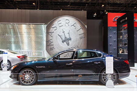 Chicago - February 13: A Maserati Quattroporte GTS on display February 13th, 2015 at the 2015 Chicago Auto Show in Chicago, Illinois.