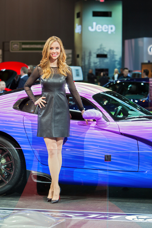 Chicago - February 13: A model poses with a Dodge Viper February 13th, 2015 at the 2015 Chicago Auto Show in Chicago, Illinois.