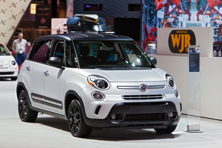 Chicago - February 13: A Fiat 500L on display February 13th, 2015 at the 2015 Chicago Auto Show in Chicago, Illinois. Editöryel
