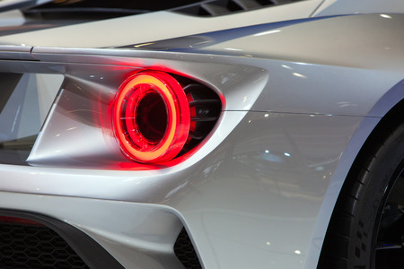 Chicago - February 13: Detail of the brake light on a Ford GT supercar February 13th, 2015 at the 2015 Chicago Auto Show in Chicago, Illinois.