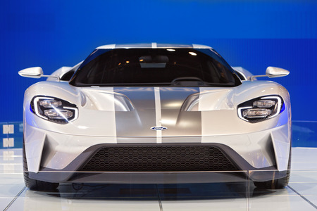 Chicago - February 13: A Ford GT on display February 13th, 2015 at the 2015 Chicago Auto Show in Chicago, Illinois.