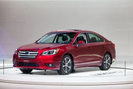 legacy: Chicago - February 13: A Subaru Legacy sedan on display February 13th, 2015 at the 2015 Chicago Auto Show in Chicago, Illinois.