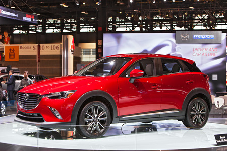 Chicago - February 13: A Mazda CX-7 on display February 13th, 2015 at the 2015 Chicago Auto Show in Chicago, Illinois.