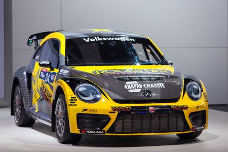 Chicago - February 13: A Volkswagen Beetle race car on display February 13th, 2015 at the 2015 Chicago Auto Show in Chicago, Illinois. Editorial