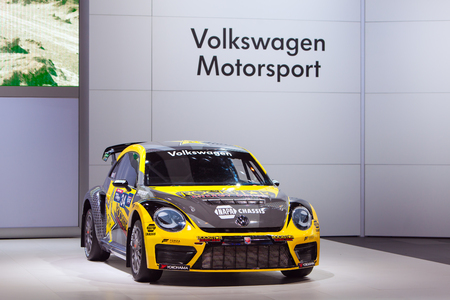 Chicago - February 13: A Volkswagen Beetle race car on display February 13th, 2015 at the 2015 Chicago Auto Show in Chicago, Illinois. Editöryel