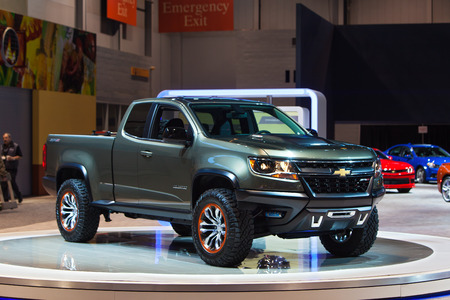 Chicago - February 13: A Chevy Colorado pickup on display February 13th, 2015 at the 2015 Chicago Auto Show in Chicago, Illinois.