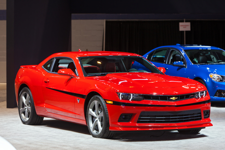 Chicago - February 12: A Chevy Camaro on display February 12th, 2015 at the 2015 Chicago Auto Show in Chicago, Illinois. Editorial