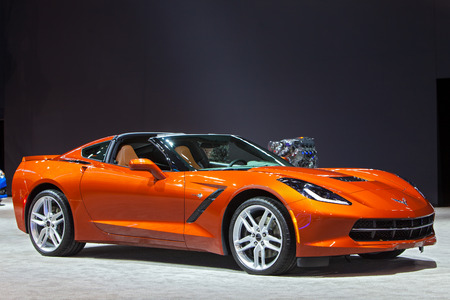 Chicago - February 12: A Chevy Corvette Stingray on display February 12th, 2015 at the 2015 Chicago Auto Show in Chicago, Illinois.