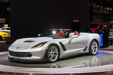 corvette: Chicago - February 12: A Chevy Corvette Stingray convertible on display February 12th, 2015 at the 2015 Chicago Auto Show in Chicago, Illinois.