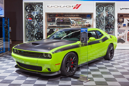 Chicago - February 13: A Mopar modified Dodge Challenger on display February 13th, 2015 at the 2015 Chicago Auto Show in Chicago, Illinois. Editöryel