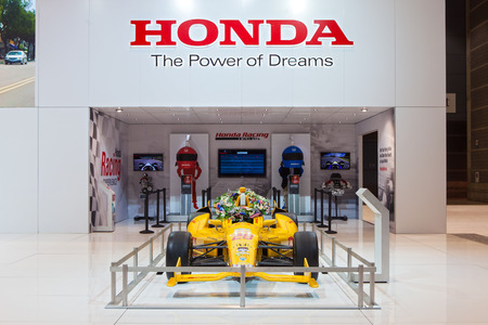 indy cars: Chicago - February 13: The Honda racing display February 13th, 2015 at the 2015 Chicago Auto Show in Chicago, Illinois.