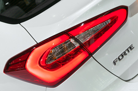 Chicago - February 13: A Kia Forte brake light detail February 13th, 2015 at the 2015 Chicago Auto Show in Chicago, Illinois. Editorial
