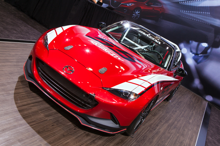 mazda: Chicago - February 13: A Mazda Miata race car on display February 13th, 2015 at the 2015 Chicago Auto Show in Chicago, Illinois.