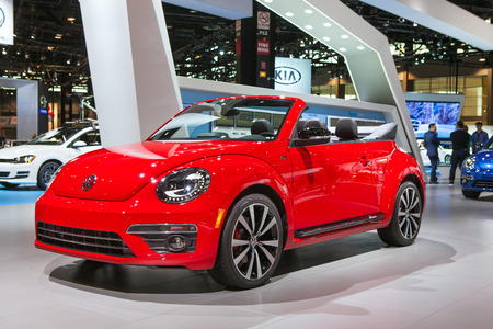 american media: Chicago - February 13: A Volkswagen Beetle R-Type convertible on display February 13th, 2015 at the 2015 Chicago Auto Show in Chicago, Illinois.