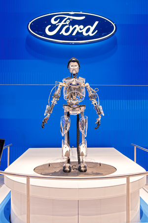 Chicago - February 13: Ford Motor Companies Hank the robot February 13th, 2015 at the 2015 Chicago Auto Show in Chicago, Illinois.